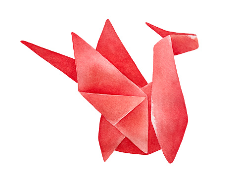 Watercolour of red Origami Dragon. Emblem of power, adventure, energy, mastery, protection. Handdrawn water color graphic painting on white background, cutout clip art element for creative design.