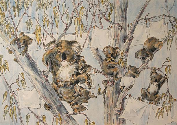 Watercolour Painting Australian Koala Family Washday vector art illustration