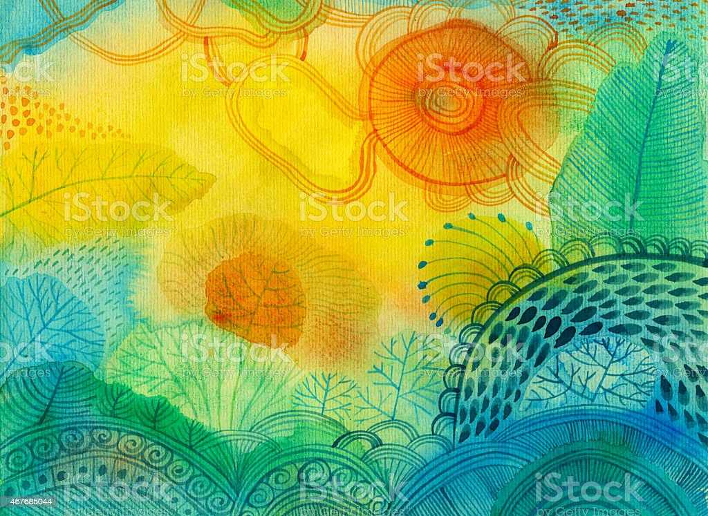 Watercolour panting of abstract landscape with different plants and trees vector art illustration