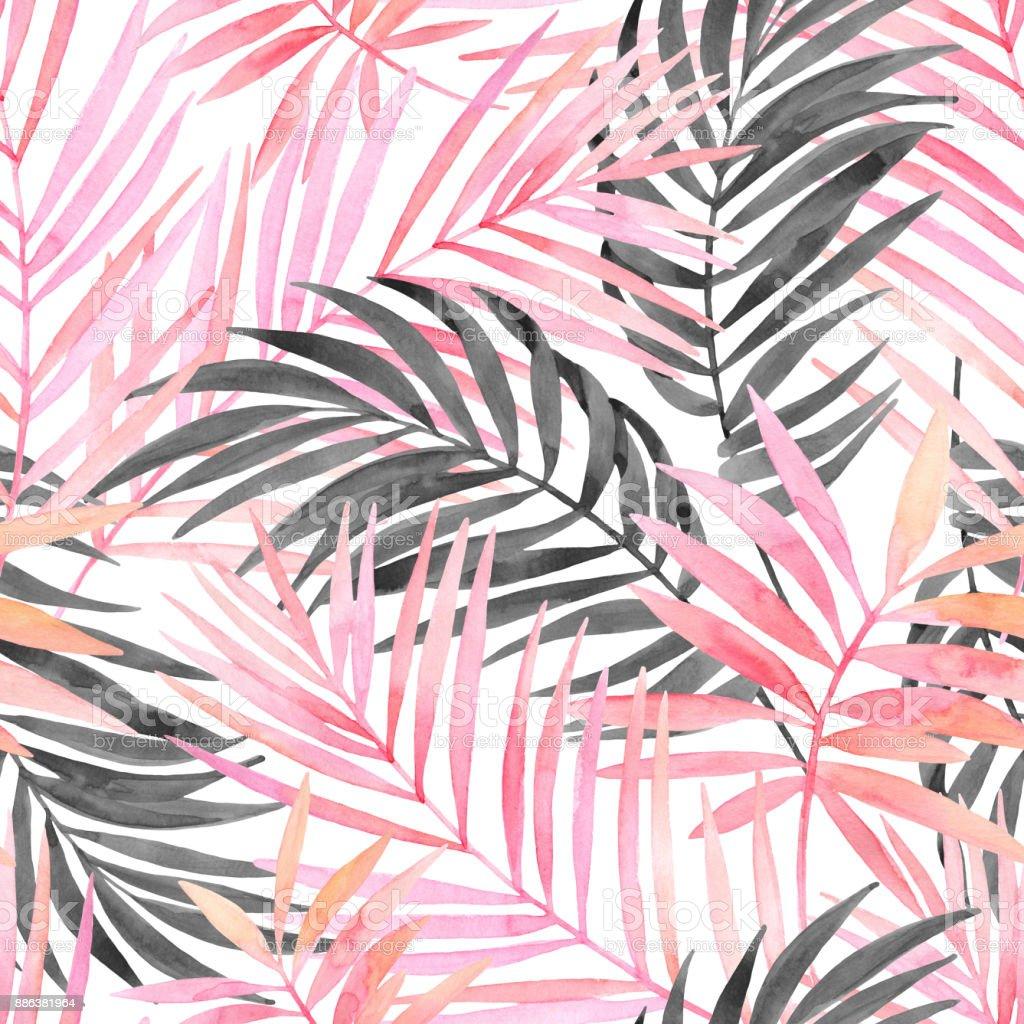 Suluboya Pembe Renkli Ve Grafik Palmiye Yaprak Boyama Stok Vektör