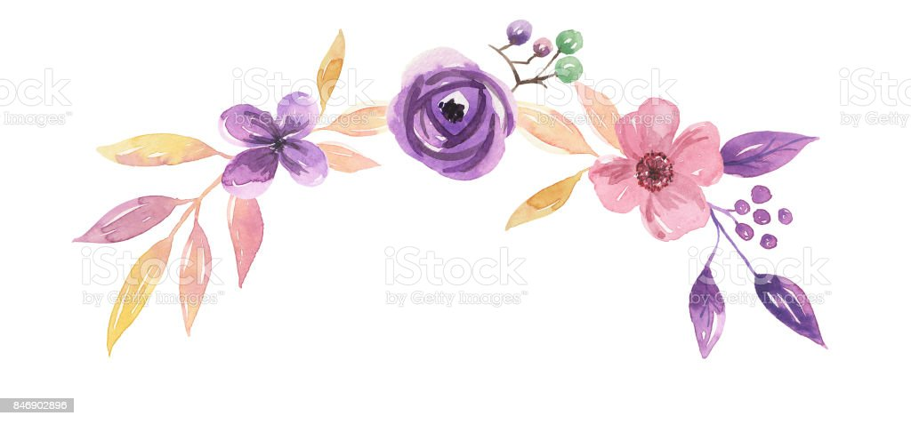 Watercolour Purple Flower Wreath Leaves Pretty Frames Stock Vector ...