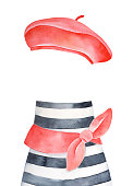 Watercolour set of bright red french beret, black and white striped t-shirt and cute knotted scarf. Hand drawn water color stylized drawing, isolated clipart for design, banner, creative composition.