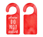 "istock Watercolour set of two bright red door hanger tags: blank one and with ""Please Do Not Disturb"" writing. Hand painted water color sketchy drawing, cut out clip art elements for design, banner, print. 1251044713"