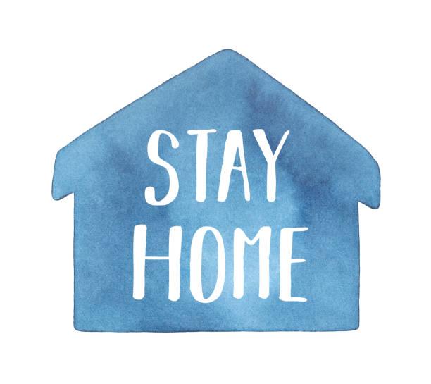 """ilustraciones, imágenes clip art, dibujos animados e iconos de stock de forma de acuarela de casa azul marino con inscripción en inglés: """"stay home"""". dibujo artístico de color de agua pintado a mano en blanco, elemento recortado para el diseño, impresión, cartel, banner, pegatina. - stay home"""