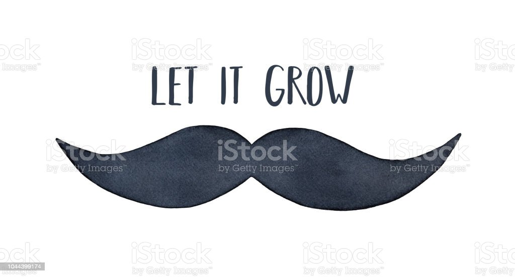 Watercolour Silhouette Of Man Mustache With Short Phrase Let It Grow