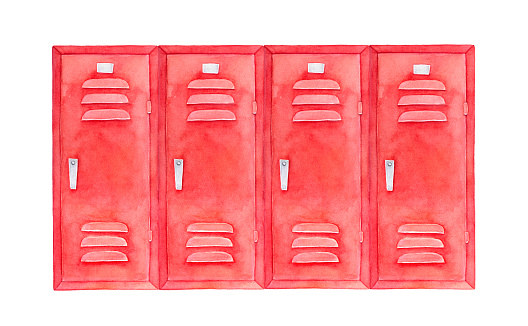 Watercolour sketch of colorful stylish lockers. Wide square shape, bright red color, steel handles.