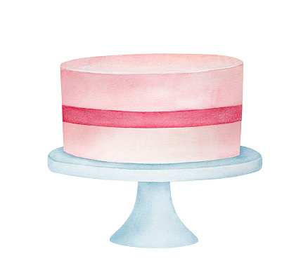 Watercolour sketch of pink festive cake on classic white stand. One single object, front view. Hand painted water color sketchy drawing, cutout clip art element for design, greeting card, invitation.
