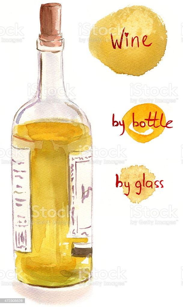 Watercolour white wine bottle with handwritten words on white background vector art illustration