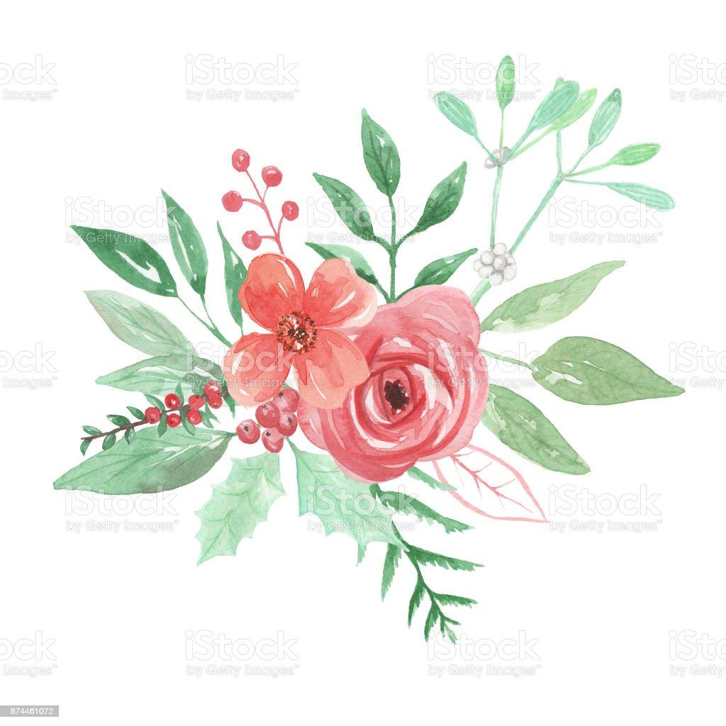 Watercolour Winter Christmas Festive Bouquets Flowers Mistletoe ...