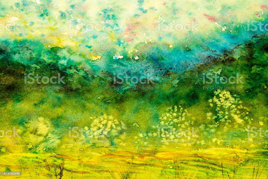 Watercolour with yellow fields and mountain vector art illustration