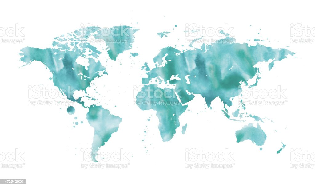 Watercolour world map vector art illustration