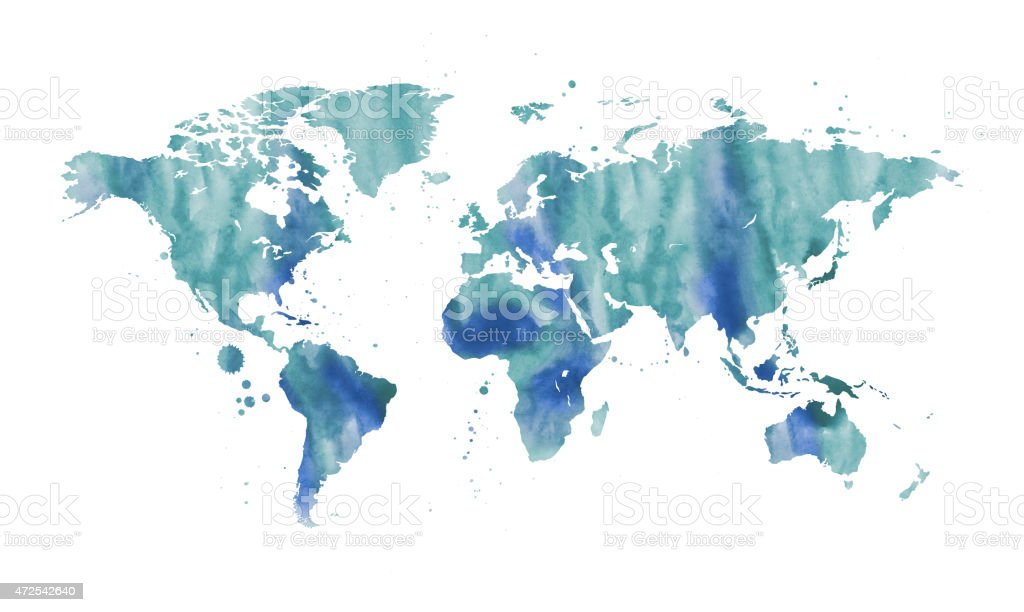 Watercolour world map vector art illustration