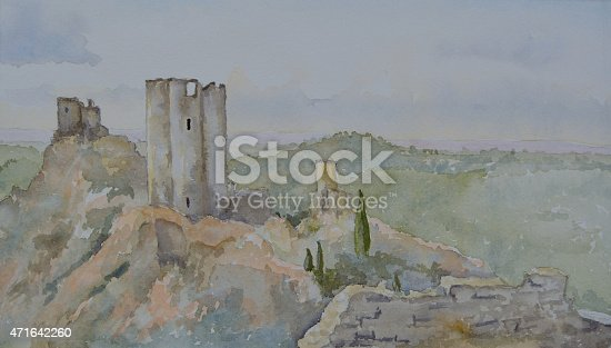 Watercolur painting of the 4 Castles at Lastours Languedoc-Roussillon France.