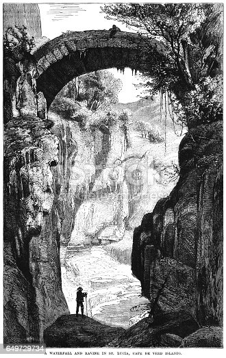 "Picturesque waterfall and ravine in Santa Luzia, in the Cape Verde islands. From ""The Family Friend - with illustrations by First-class Artists"". Published by SW Partridge & Co, London, in 1877."