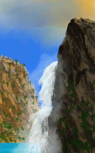 Waterfall Stock Illustration - Download Image Now