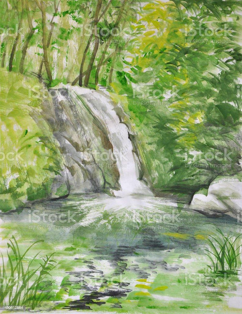 Wasserfall In Bambuswald Stock Vektor Art Und Mehr Bilder Von 2015