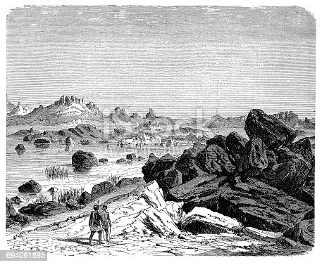 Illustration of a Waterfalls of the Nile in the granite region