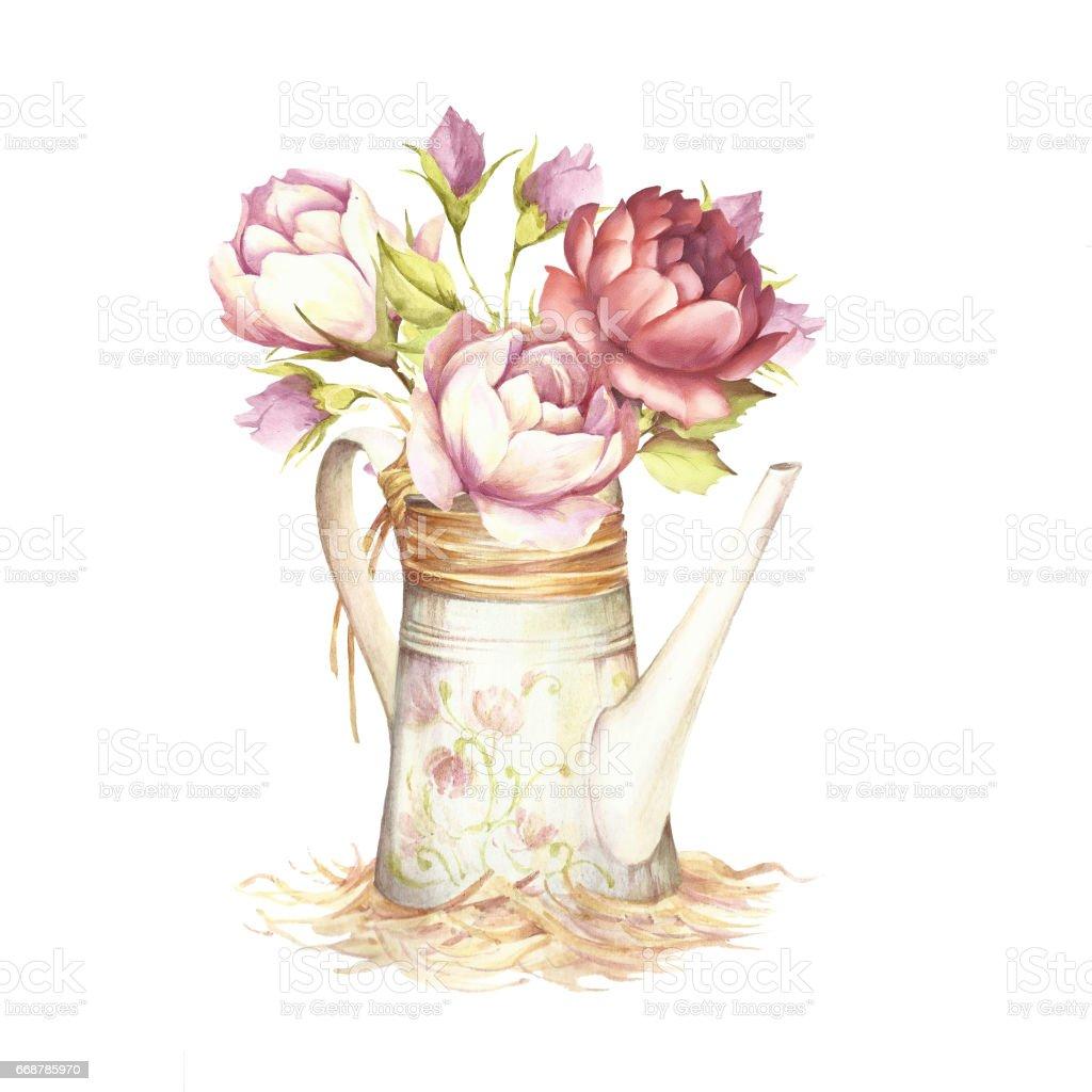 ilustração de regador com rosas mão desenhar ilustração aquarela e
