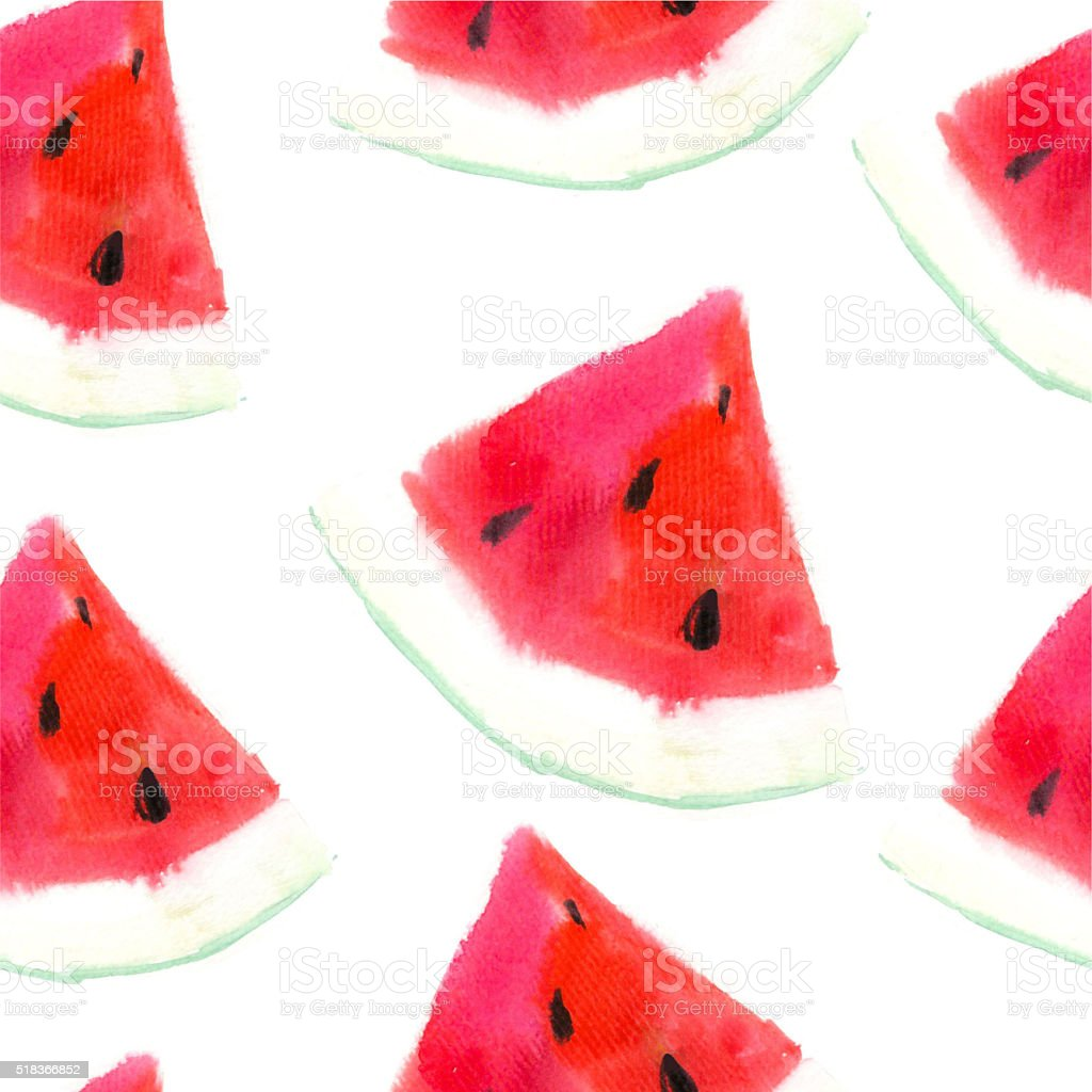 Watermelon background. Illustration with watercolor fruit. vector art illustration