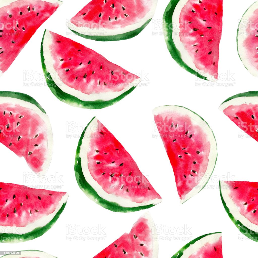 Watermelon Watercolor Seamless Pattern Bright Tropical Fruit