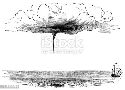 A waterspout beginning to form over the ocean. Vintage etching circa late 19th century.