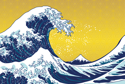 Wave illustration postcard.Japanese traditional pattern.
