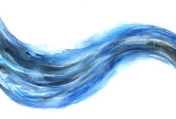 """wave of energy """"flowing blue wave of energy, watercolor painting"""" tide stock illustrations"""