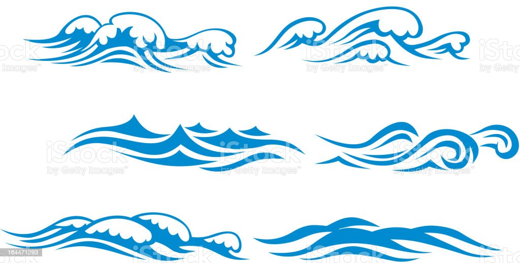 Wave symbols vector art illustration