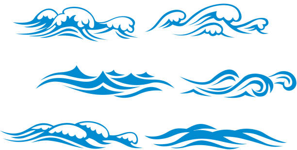 Wave symbols vector art illustration
