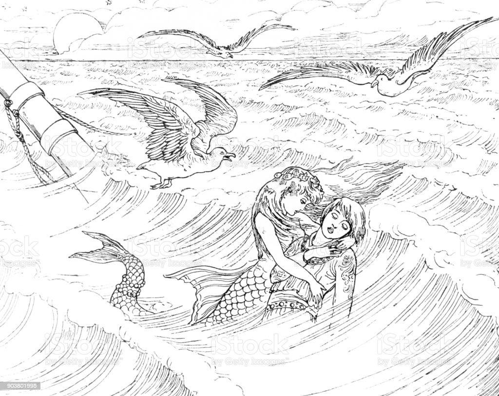Cena de ondas da pequena sereia de Andersen - ilustração de arte em vetor