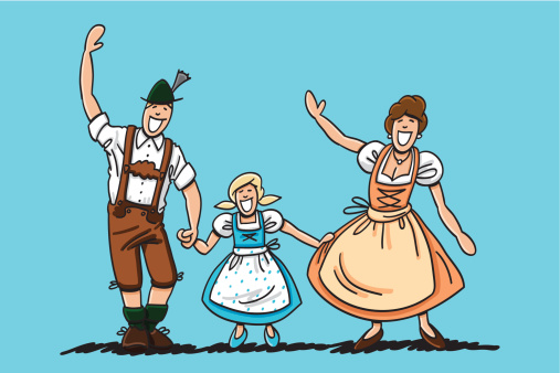 Waving Bavarian Couple With Daughter