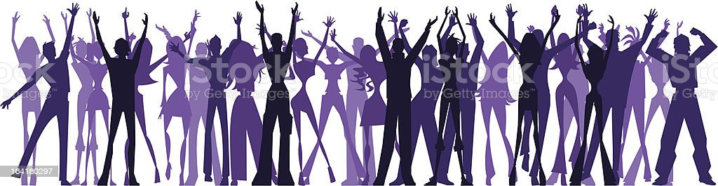 Waving crowd vector art illustration