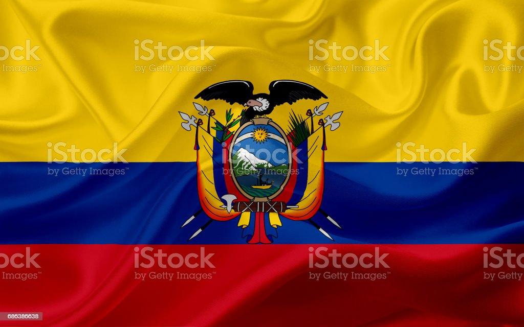 Waving Ecuador flag with fabric texture vector art illustration