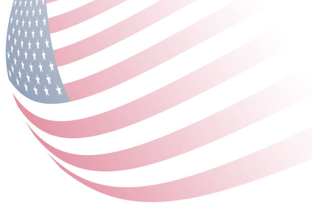 waving faded american flag white background graphic illustration card vector art illustration