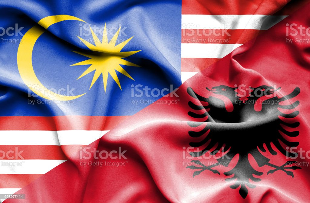Waving flag of Albania and Malaysia waving flag of albania and malaysia - immagini vettoriali stock e altre immagini di accordo d'intesa royalty-free