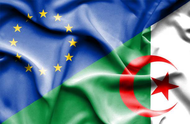 Waving flag of Algeria and EU vector art illustration