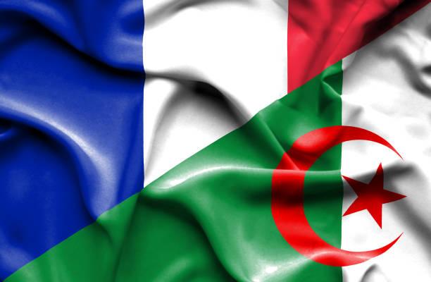 waving flag of algeria and france - 阿爾及利亞 幅插畫檔、美工圖案、卡通及圖標
