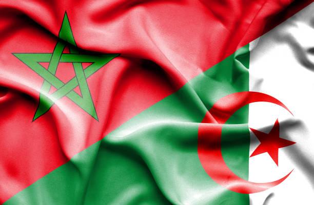 阿爾及利亞和摩洛哥的那飄揚的旗幟 - 阿爾及利亞 幅插畫檔、美工圖案、卡通及圖標