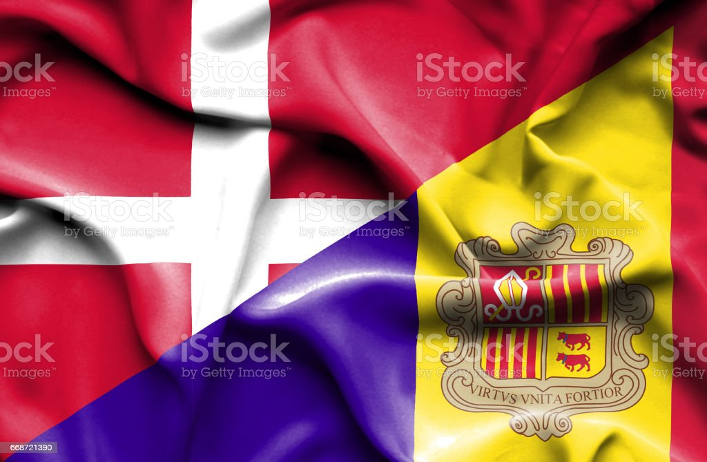 Waving flag of Andorra and Denmark vector art illustration