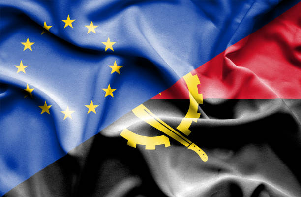 Waving flag of Angola and EU vector art illustration