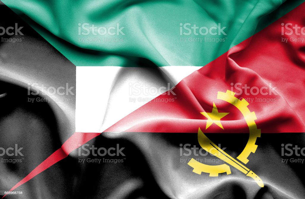 Waving flag of Angola and Kuwait waving flag of angola and kuwait - immagini vettoriali stock e altre immagini di accordo d'intesa royalty-free