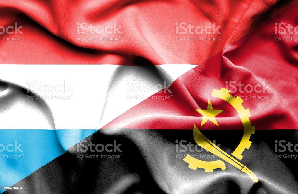 Waving flag of Angola and Luxembourg waving flag of angola and luxembourg - immagini vettoriali stock e altre immagini di accordo d'intesa royalty-free