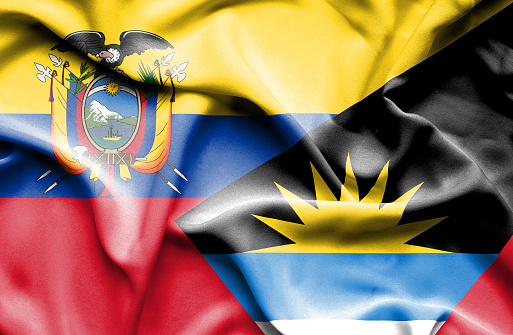 Waving flag of Antigua and Barbuda and Ecuador