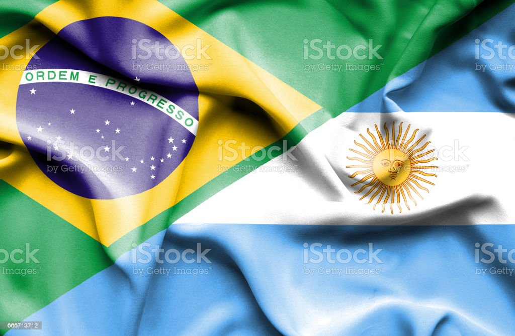 Waving flag of Argentina and Brazil - ilustración de arte vectorial