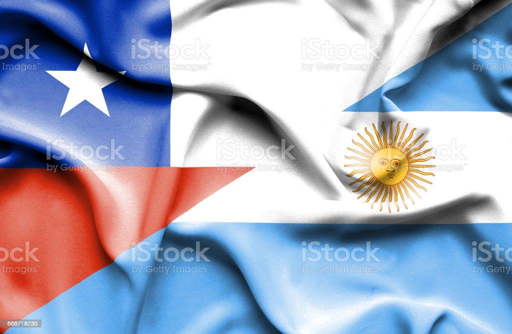 Bandera de Argentina y Chile - ilustración de arte vectorial