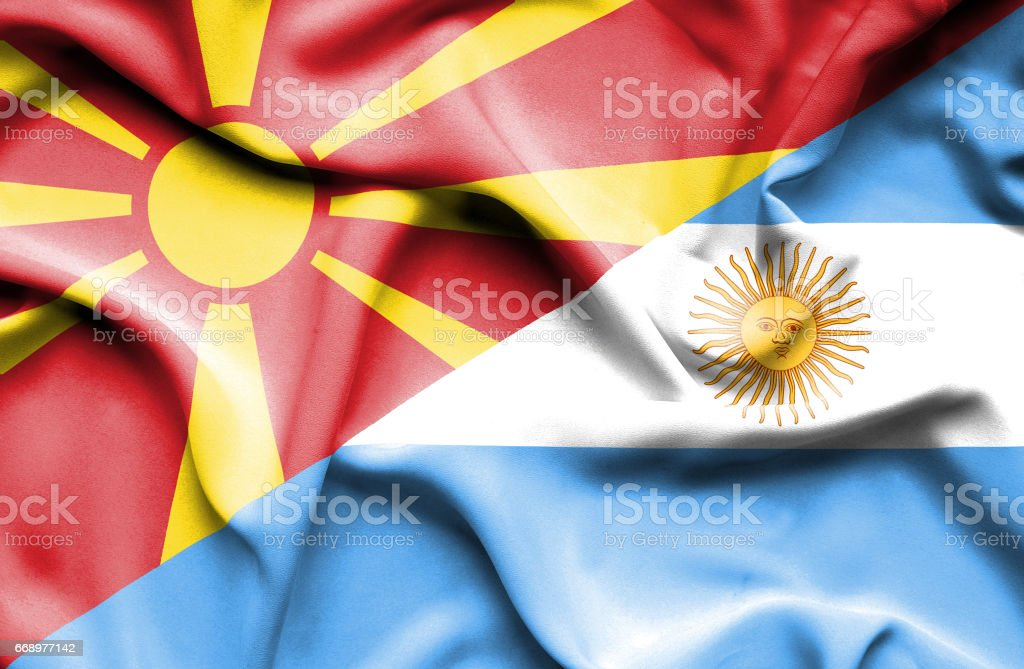Waving flag of Argentina and Macedonia waving flag of argentina and macedonia - immagini vettoriali stock e altre immagini di accordo d'intesa royalty-free