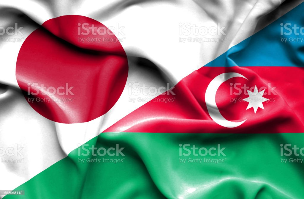 Waving flag of Azerbajan and Japan waving flag of azerbajan and japan - immagini vettoriali stock e altre immagini di accordo d'intesa royalty-free