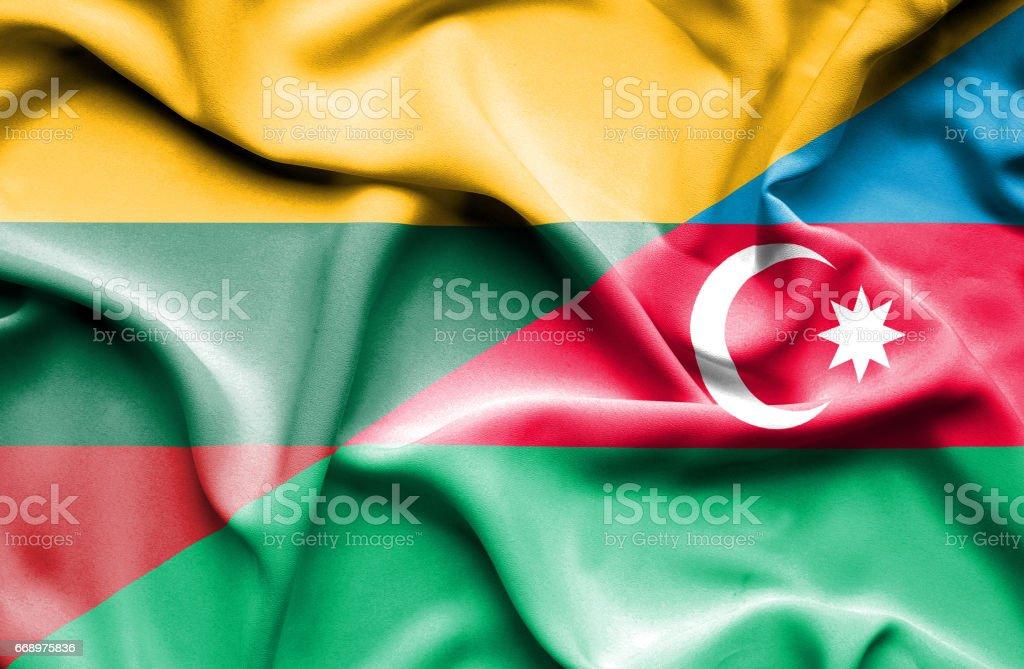 Waving flag of Azerbajan and Lithuania waving flag of azerbajan and lithuania - immagini vettoriali stock e altre immagini di accordo d'intesa royalty-free