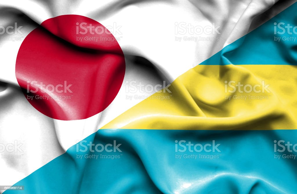 Waving flag of Bahamas and Japan waving flag of bahamas and japan - immagini vettoriali stock e altre immagini di accordo d'intesa royalty-free