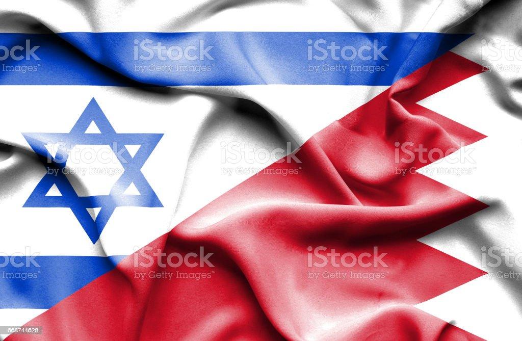 Waving flag of Bahrain and Israel vector art illustration